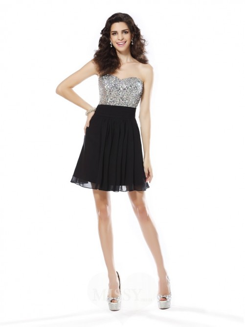 A-Line/Princess Sweetheart Chiffon Sleeveless Short/Mini Beading Dresses