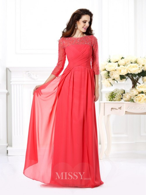 A-Line/Princess Scoop 3/4 Sleeves Beading Floor-Length Chiffon Dress