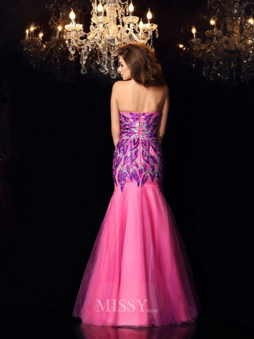 Trumpet/Mermaid Sleeveless Sweetheart Beading Floor-Length Net Dresses