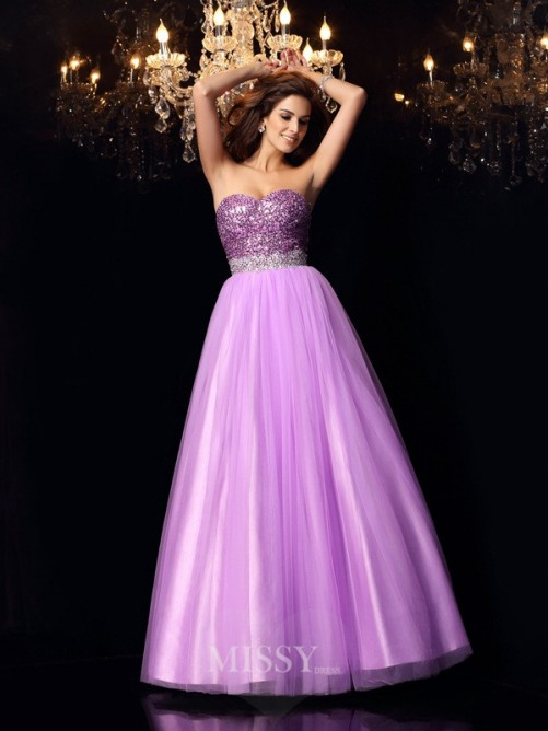 Ball Gown Sweetheart Sequin Sleeveless Elastic Woven Satin Floor-Length Dresses