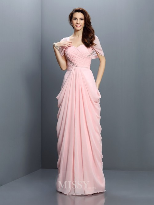A-Line/Princess Sweetheart Short Sleeves Pleats Floor-Length Chiffon Bridesmaid Dresses