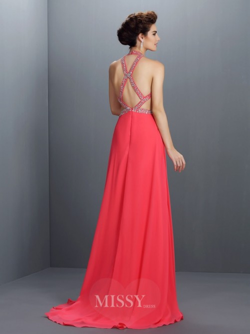 A-Line/Princess Halter Sleeveless Beading Sweep/Brush Train Chiffon Dress