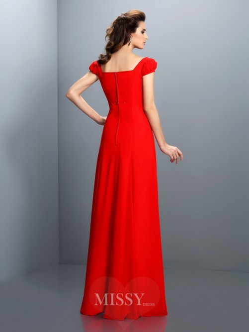 A-Line/Princess Bateau Short Sleeves Floor-Length Satin Dresses