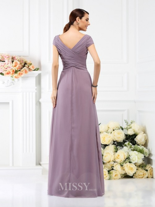 A-Line/Princess V-neck Short Sleeves Pleats Floor-Length Chiffon Bridesmaid Dresses