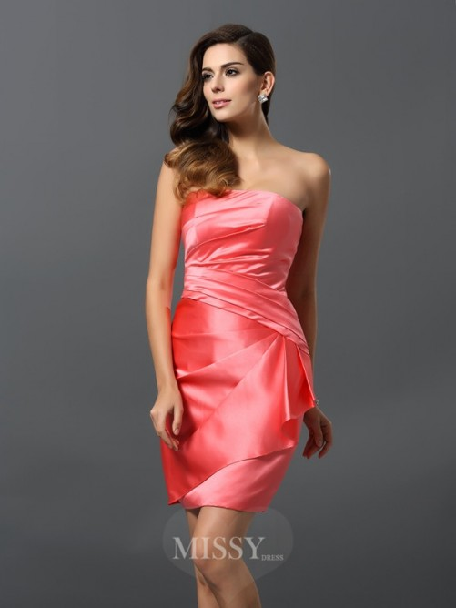 Sheath/Column Sleeveless Satin Strapless Short/Mini Ruched Dresses