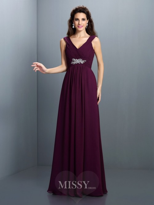 A-Line/Princess Sleeveless V-neck Pleats Beading Floor-Length Chiffon Dress