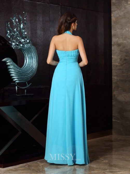A-Line/Princess Halter Sleeveless Chiffon Floor-Length Pleats Dresses