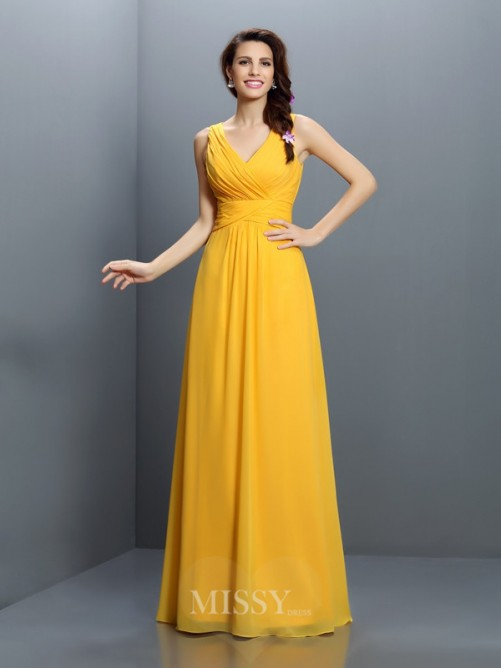 A-Line/Princess Sleeveless V-neck Pleats Floor-Length Chiffon Bridesmaid Dresses