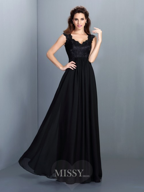 A-Line/Princess Sleeveless Scoop Lace Floor-Length Chiffon Dress