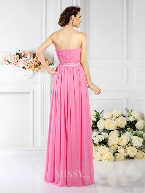 A-Line/Princess Strapless Sleeveless Pleats Floor-Length Chiffon Bridesmaid Dresses
