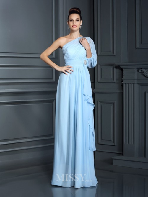 Sheath/Column One-Shoulder 3/4 Sleeves Floor-Length Chiffon Dress