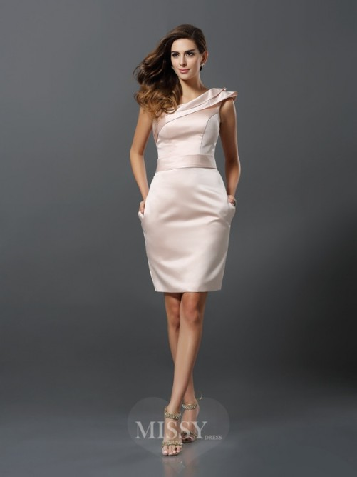 Sheath/Column Sleeveless One-Shoulder Knee-Length Satin Dresses