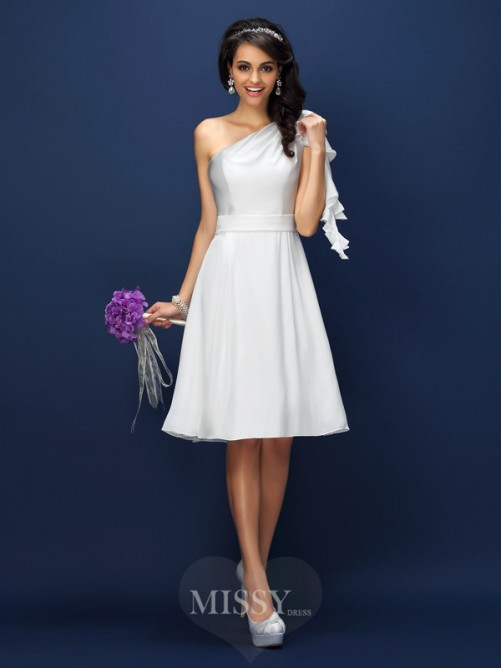 A-Line/Princess Sleeveless One-Shoulder Knee-Length Chiffon Bridesmaid Dresses