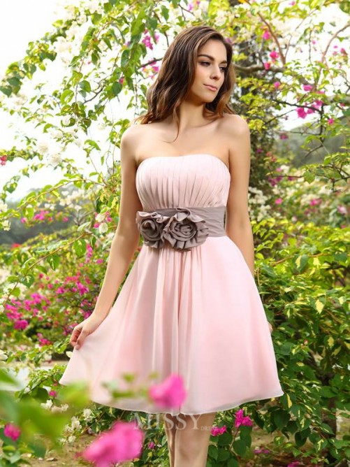 A-Line/Princess Sleeveless Sweetheart Sash/Ribbon/Belt Chiffon Short/Mini Bridesmaid Dresses
