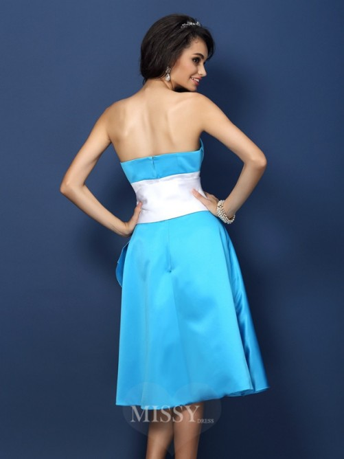 Sheath/Column Strapless Sleeveless Bowknot Knee-Length Satin Bridesmaid Dresses