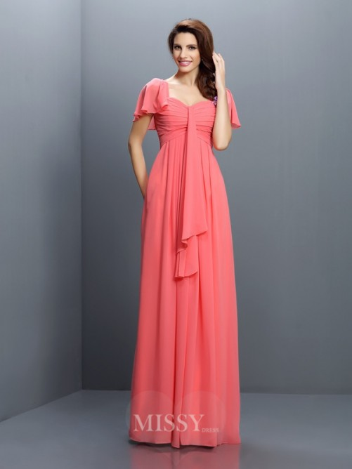 A-Line/Princess Sweetheart 1/2 Sleeves Pleats Floor-Length Chiffon Bridesmaid Dresses