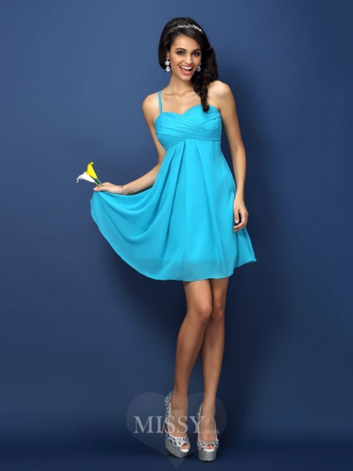 A-Line/Princess Spaghetti Straps Sleeveless Pleats Short/Mini Chiffon Bridesmaid Dresses