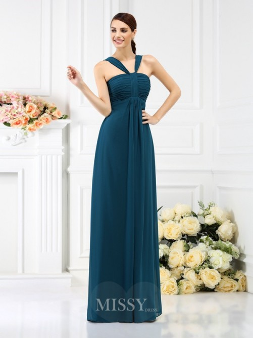 A-Line/Princess Straps Sleeveless Pleats Floor-Length Chiffon Bridesmaid Dresses