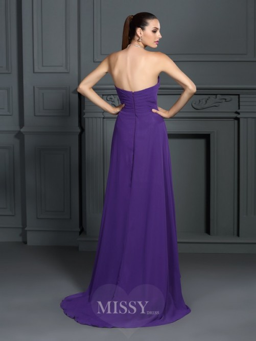 A-Line/Princess Strapless Sleeveless Pleats Asymmetrical Chiffon Dress