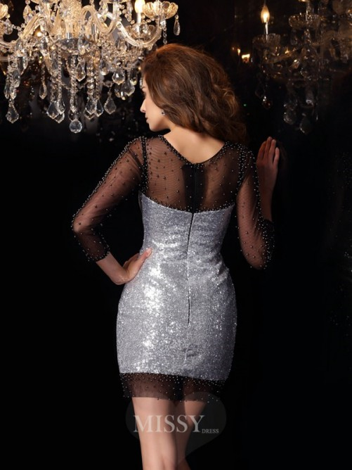 Sheath/Column Scoop Sequins 3/4 Sleeves Beading Short/Mini Dress