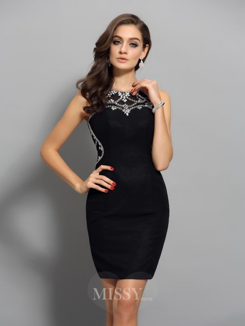 Sheath/Column Sleeveless Chiffon Scoop Beading Short/Mini Dress