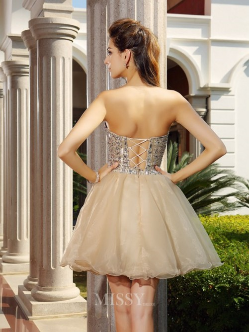 A-Line/Princess Sweetheart Ruffles Organza Short/Mini Sleeveless Dresses