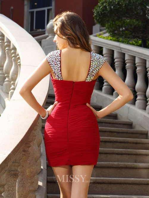 Sheath/Column Straps Chiffon Beading Sleeveless Short/Mini Dress