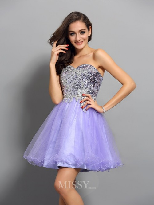 A-Line/Princess Sleeveless Net Applique Sweetheart Beading Short/Mini Dress