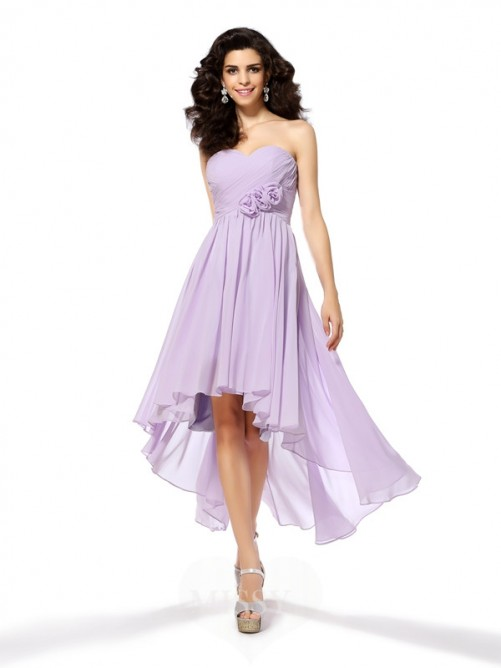 A-Line/Princess Sleeveless Sweetheart Chiffon Asymmetrical Hand-Made Flower Dresses