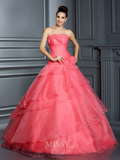 Ball Gown Strapless Sleeveless Hand-Made Flower Floor-Length Organza Quinceanera Dresses