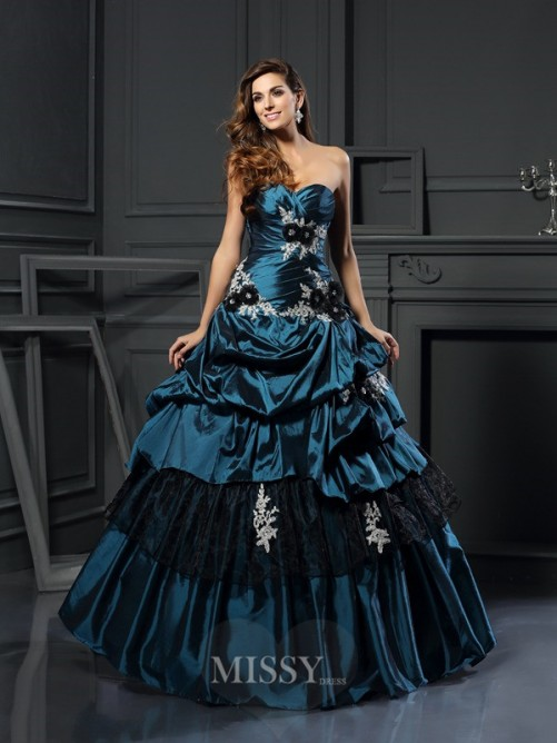 Ball Gown Sleeveless Sweetheart Taffeta Beading Applique Floor-Length Dresses