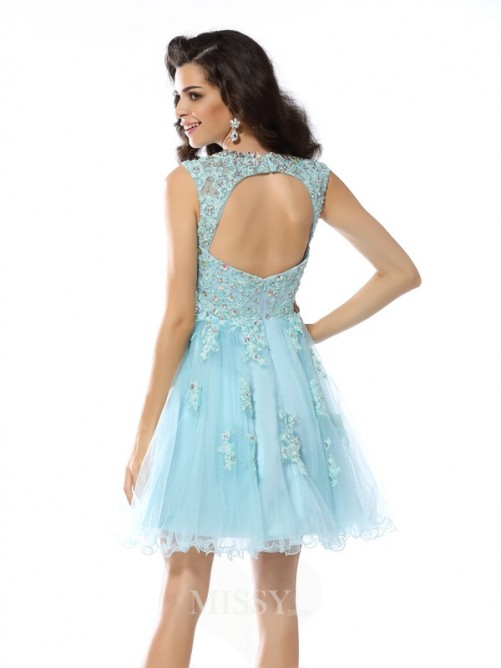 A-Line/Princess Sleeveless Scoop Applique Beading Satin Short/Mini Dress