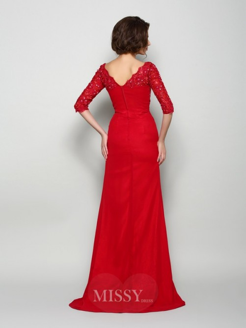 A-Line/Princess 1/2 Sleeves V-neck Chiffon Sweep/Brush Train Beading Mother of the Bride Dress