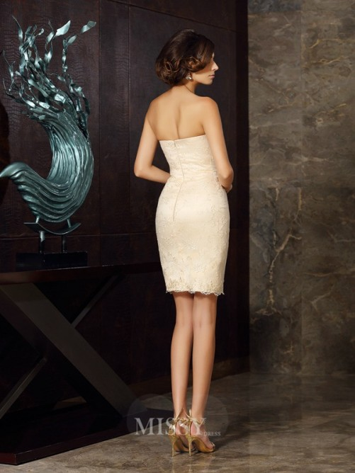 Sheath/Column Sleeveless Strapless Satin Applique Short/Mini Mother of the Bride Dress