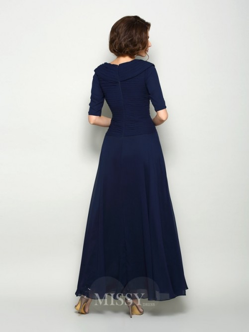 A-Line/Princess 1/2 Sleeves V-neck Ankle-Length Chiffon Mother of the Bride Dress