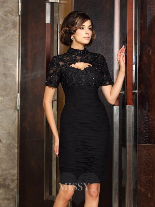 Sheath/Column Short Sleeves High Neck Beading Knee-Length Chiffon Mother of the Bride Dress
