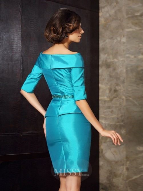 Sheath/Column 1/2 Sleeves Off-the-Shoulder Knee-Length Taffeta Mother of the Bride Dress
