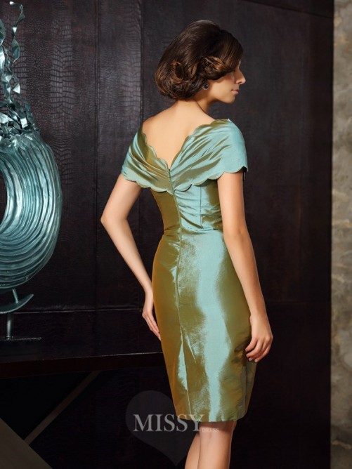 Sheath/Column Short Sleeves V-neck Knee-Length Taffeta Mother of the Bride Dress