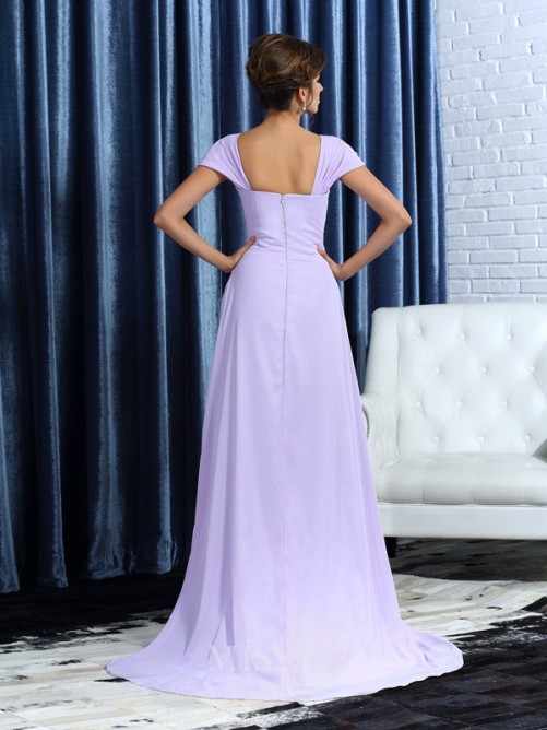 A-Line/Princess Sleeveless Straps Chiffon Asymmetrical Beading Mother of the Bride Dress