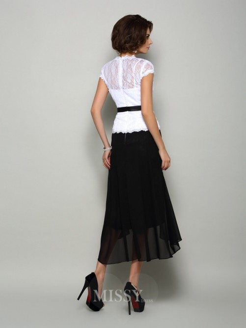 A-Line/Princess Sleeveless Chiffon V-neck Asymmetrical Sash/Ribbon/Belt Mother of the Bride Dress