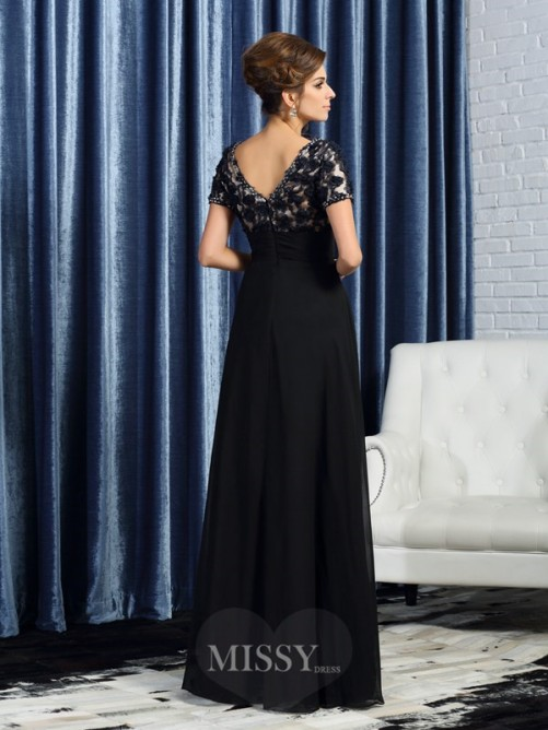 A-Line/Princess Short Sleeves V-neck Floor-Length Chiffon Mother of the Bride Dress