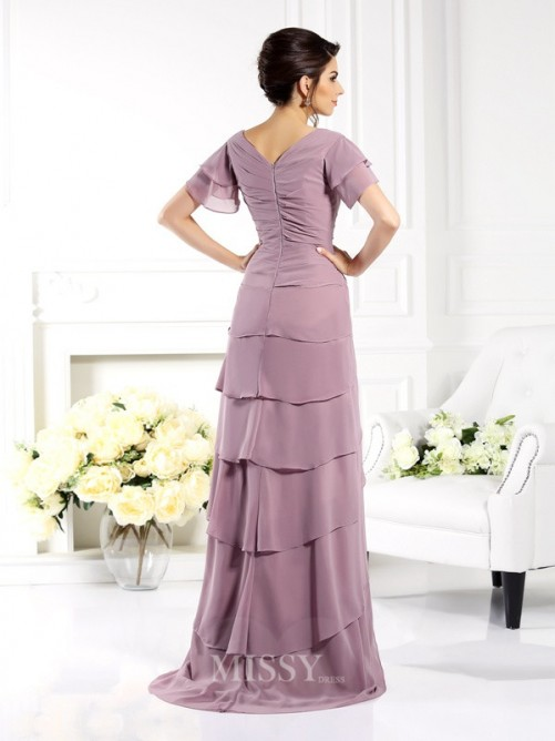 Sheath/Column V-neck Short Sleeves Floor-Length Chiffon Mother of the Bride Dress