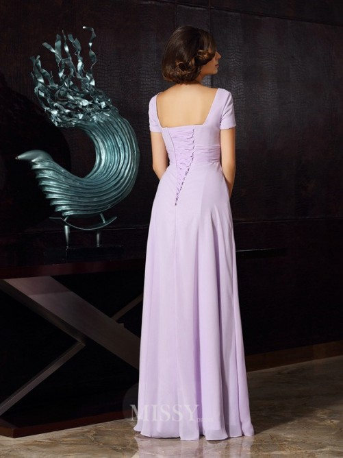 A-Line/Princess Square Short Sleeves Chiffon Floor-Length Beading Dresses
