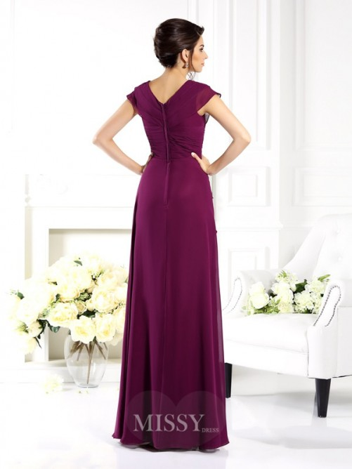 A-Line/Princess V-neck Short Sleeves Floor-Length Chiffon Mother of the Bride Dress
