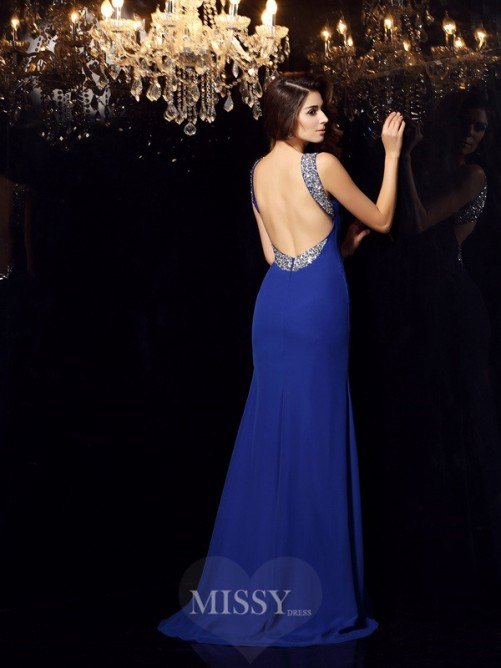 Trumpet/Mermaid Sleeveless Scoop Beading Sweep/Brush Train Chiffon Dress