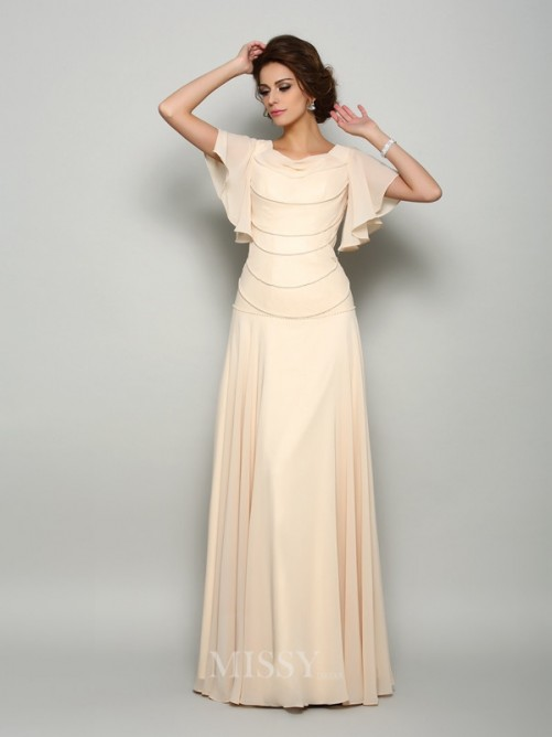 A-Line/Princess Short Sleeves Square Chiffon Floor-Length Beading Mother of the Bride Dress