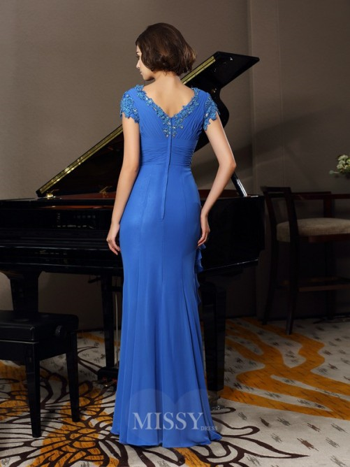 A-Line/Princess Short Sleeves V-neck Chiffon Beading Applique Floor-Length Mother of the Bride Dress