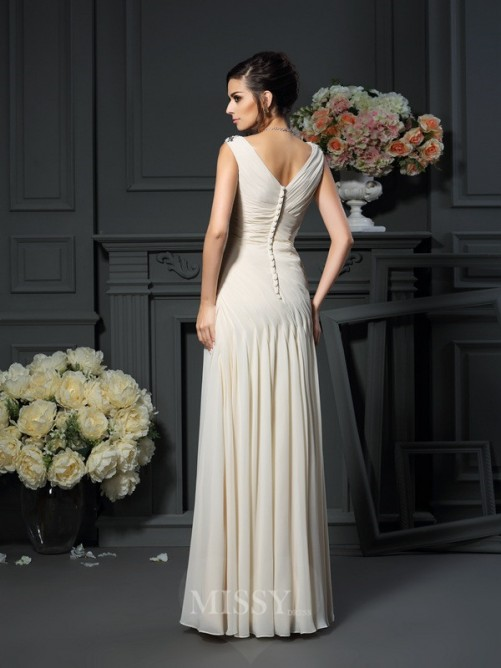 Sheath/Column Sleeveless Chiffon V-neck Beading Applique Floor-Length Dresses