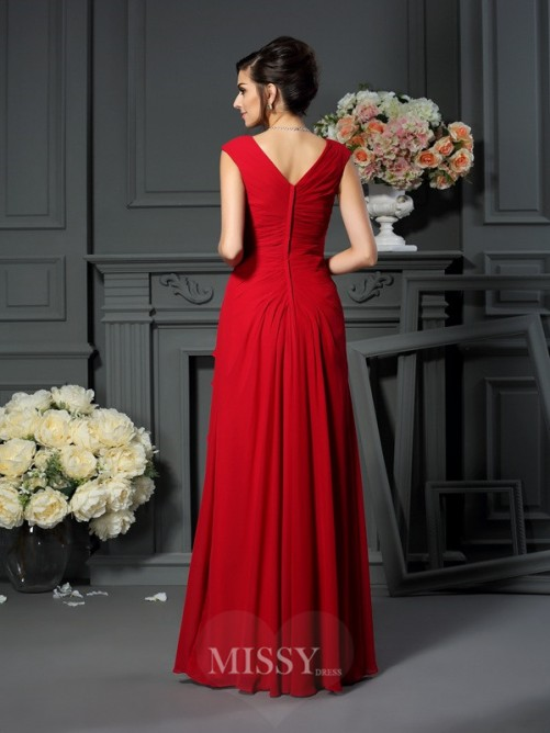 A-Line/Princess Sleeveless V-neck Floor-Length Chiffon Hand-Made Flower Dresses