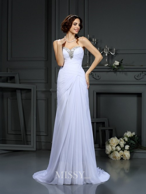 Sheath/Column Sleeveless Sweetheart Sweep/Brush Train Beading Chiffon Wedding Dress